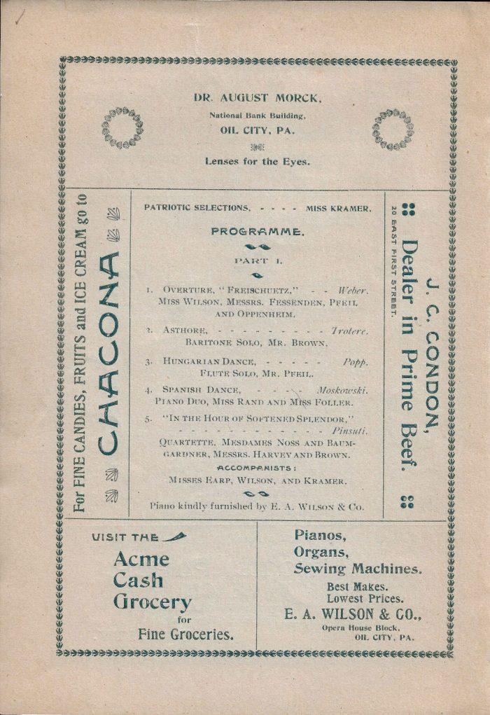 The Derthick Club program copy